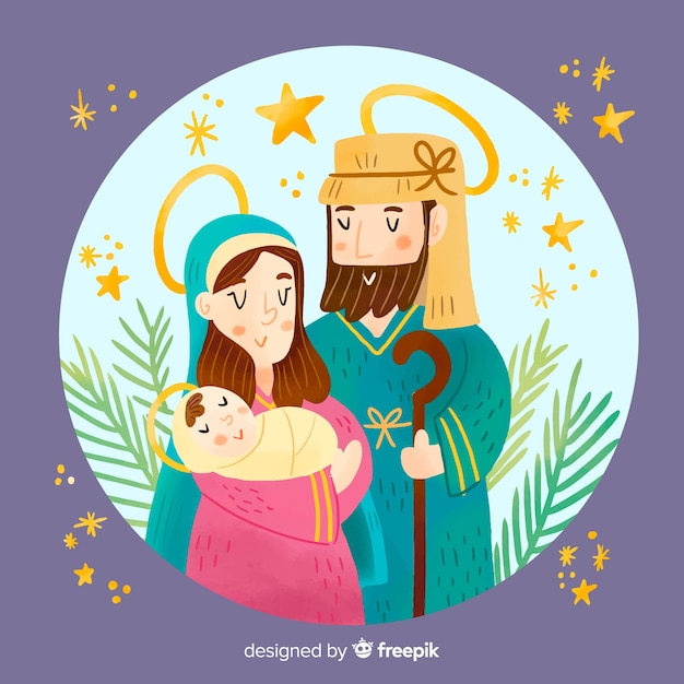 Colorful nativity illustration Free Vector