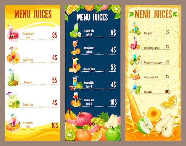 Colorful natural juices menu template Free Vector