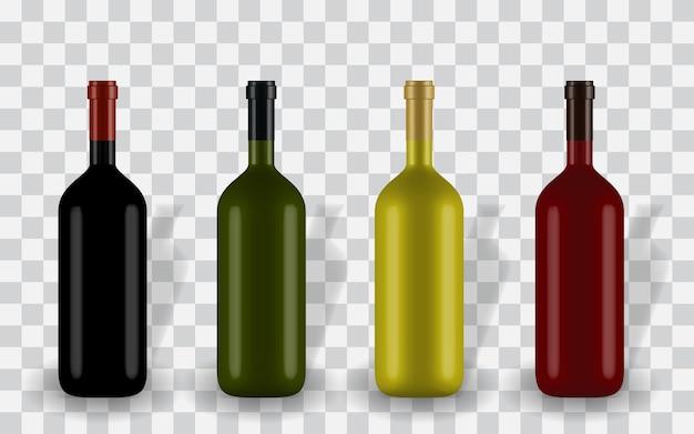 ラベルなしのさまざまな色のカラフルな自然主義的な閉じた3dワインボトル Premiumベクター