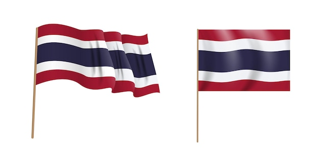 タイ王国のカラフルな自然主義的な手を振る旗。 Premiumベクター