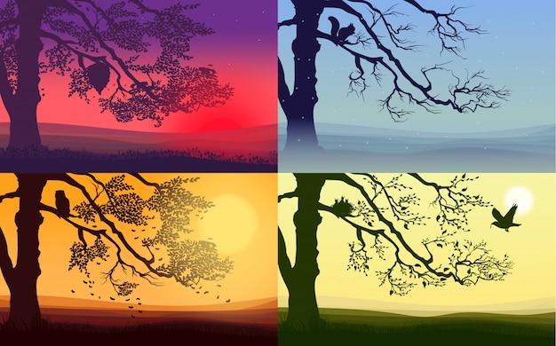 Набор красочных пейзажей природы Бесплатные векторы