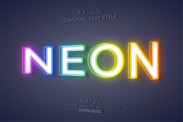 Colorful neon 3d editable text effect font style Premium Vector
