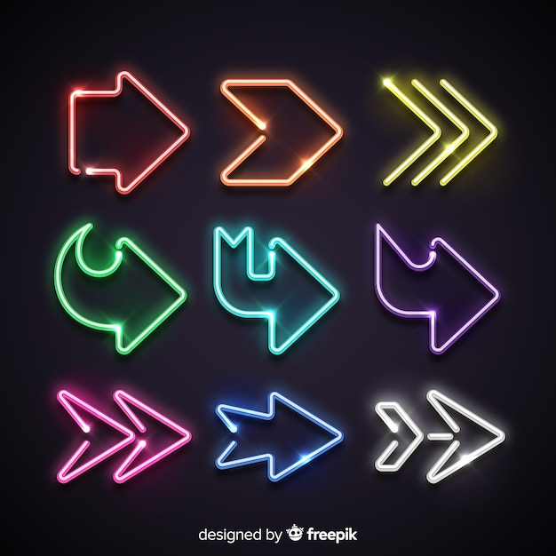 Colorful neon arrow collection Free Vector