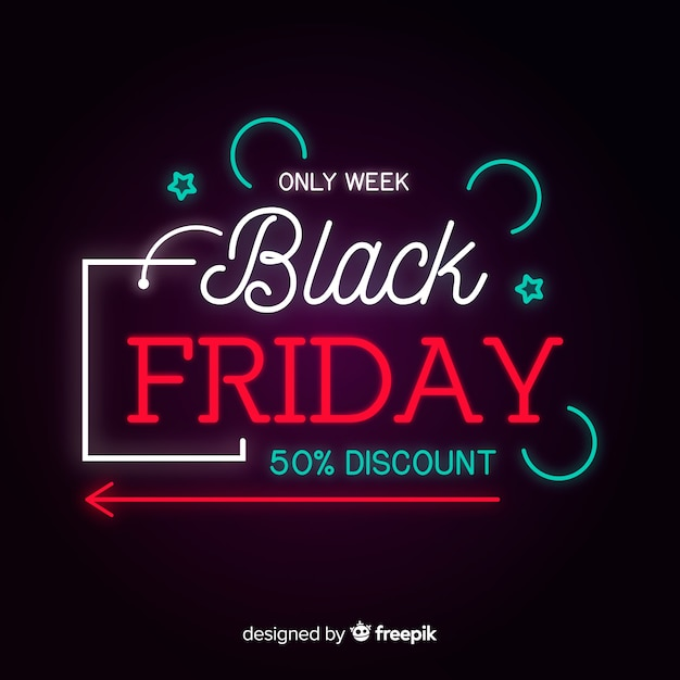 Colorful neon black friday Free Vector