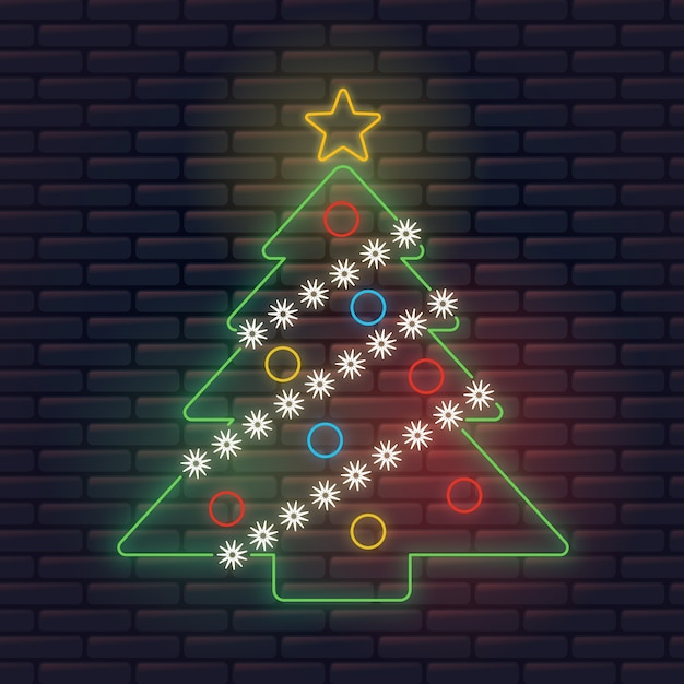 Colorful neon christmas tree Free Vector