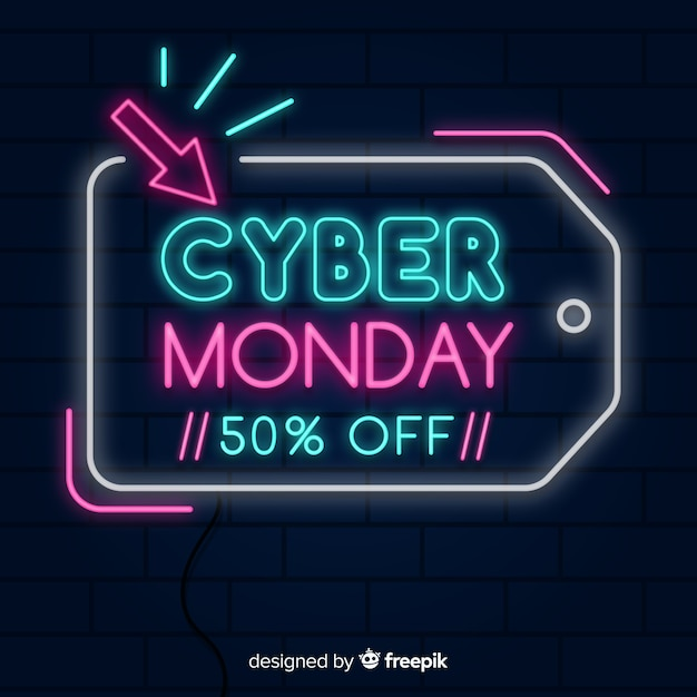 Colorful neon cyber monday Free Vector