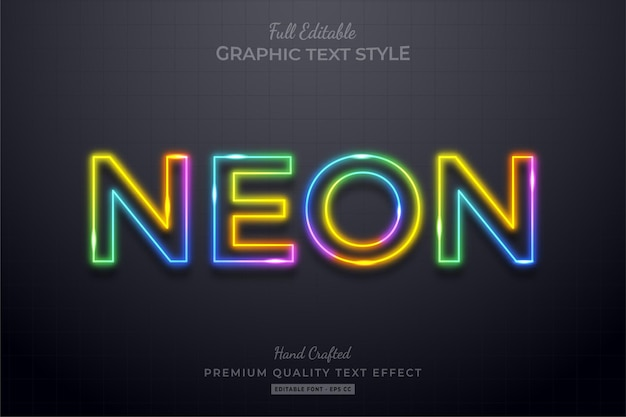 Colorful neon editable text effect font style, Premium Vector