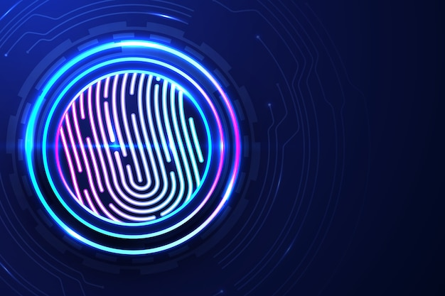 Colorful neon fingerprint background Free Vector