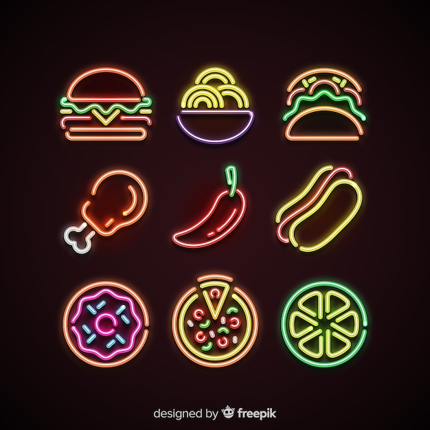 Colorful Food Wallpaper Free Download: Colorful Neon Food Pack Vector