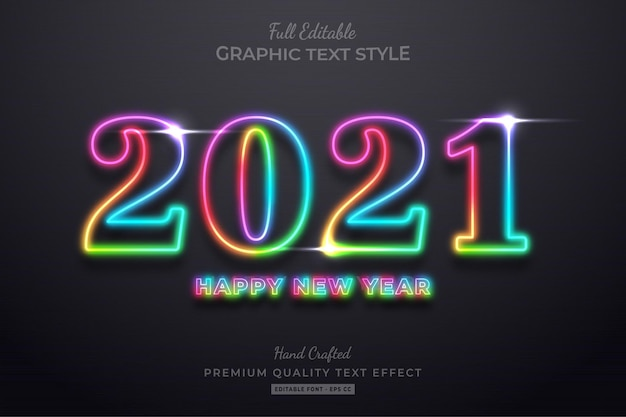 Colorful neon happy new year editable text effect font style Premium Vector