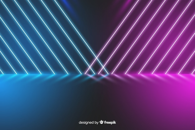 Colorful neon lights stage background Free Vector