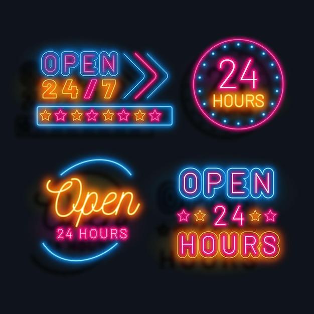 カラフルなネオンは24時間営業の看板 無料ベクター