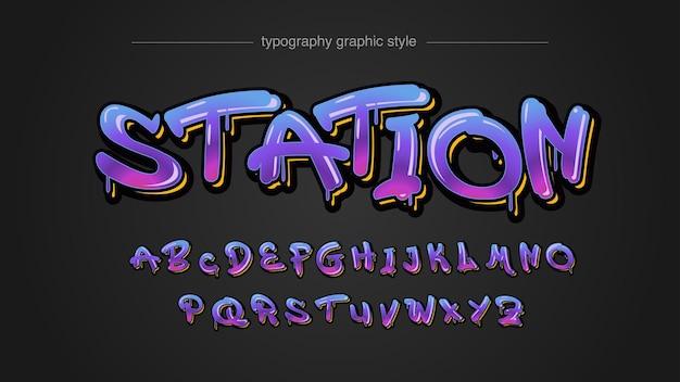 Красочный неоновый фиолетовый розовый синий капает граффити в стиле текста Premium векторы