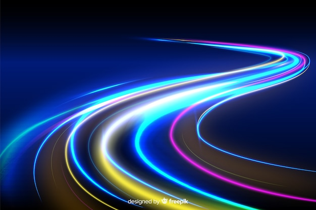 Colorful neon wavy light trail background Free Vector
