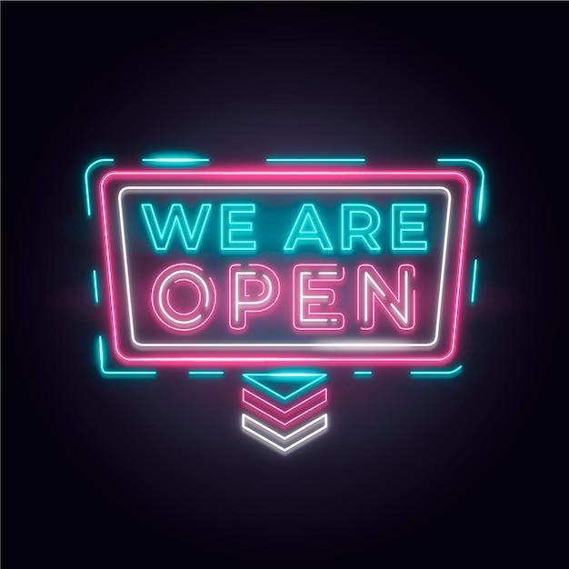 Красочная неоновая вывеска «мы открыты» Бесплатные векторы