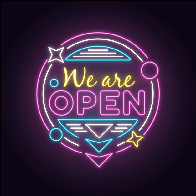 Colorful neon 'we are open' sign Free Vector