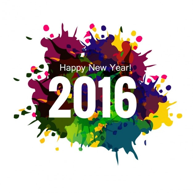 Colorful new year 2016 greeting card Free Vector