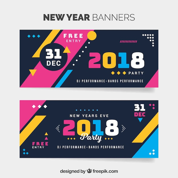 colorful new year 2018 banners free vector