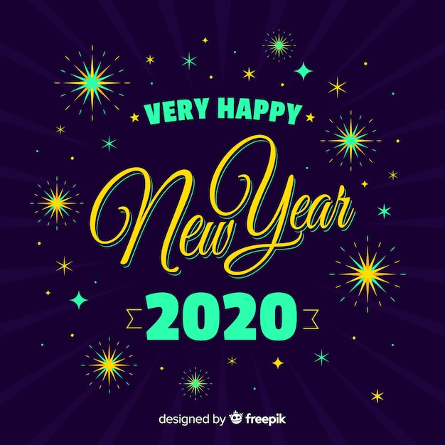 Colorful new year 2020 in flat design Free Vector