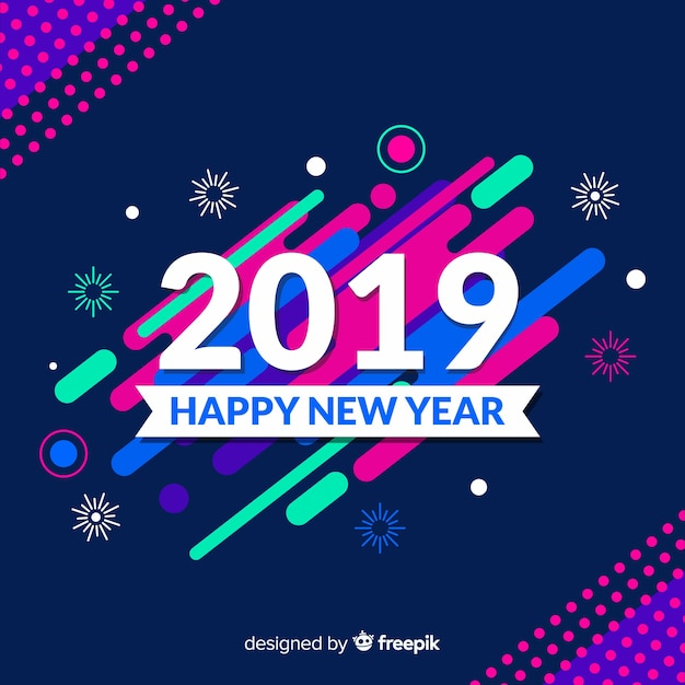 Colorful new year background with modern style Free Vector