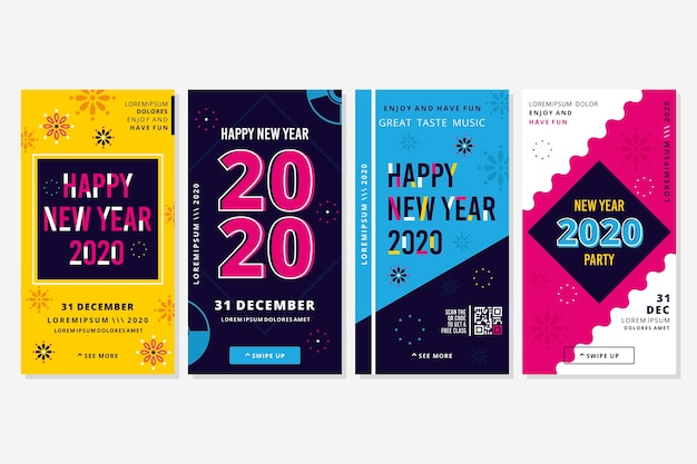 Colorful new year instagram stories Free Vector