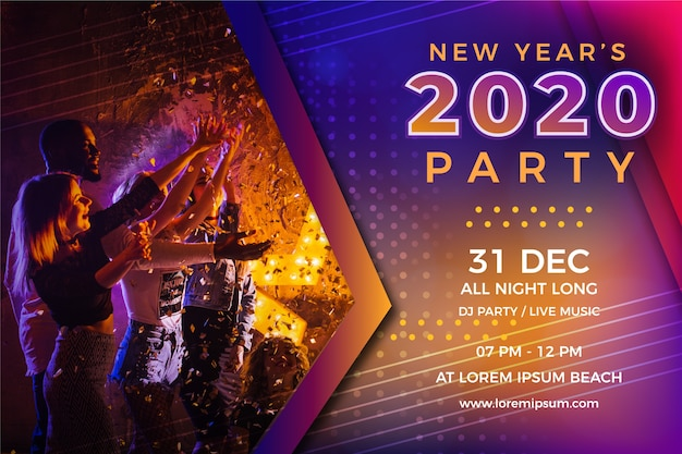 Colorful new year party concept Premium Vector