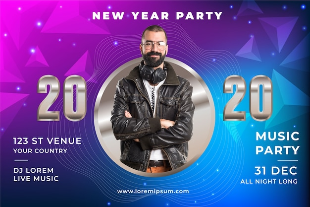 Colorful new year party concept Free Vector