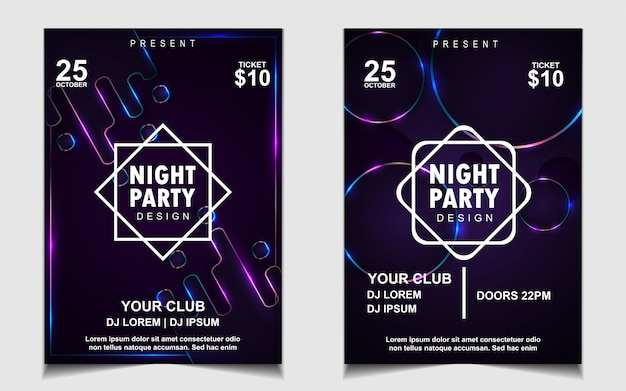 Colorful night dance party music flyer or poster design Premium Vector