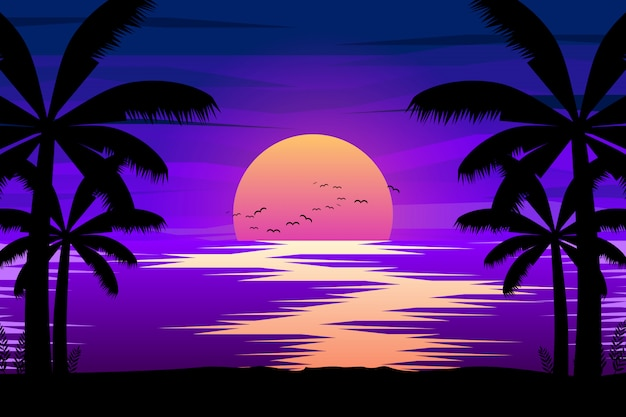 Colorful night landscape with sea and palm tree silhouettes illustration Premium Vector