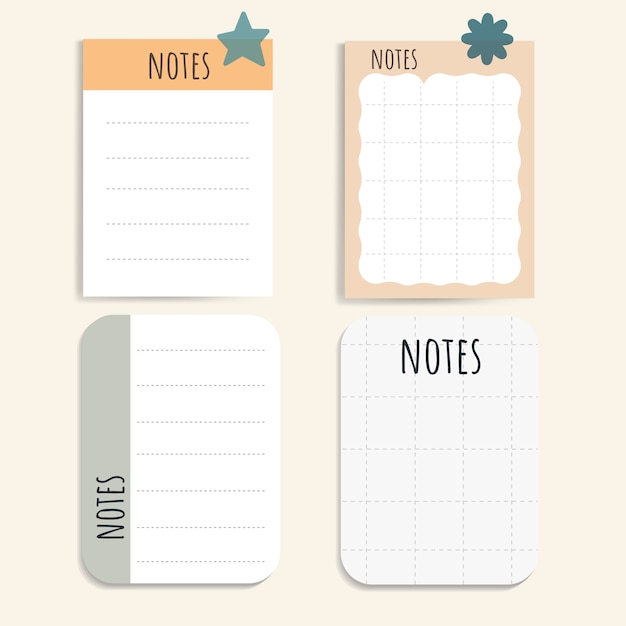 Colorful notepad set Free Vector