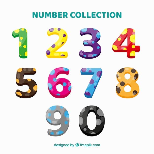 Красочная коллекция номеров с точками Бесплатные векторы