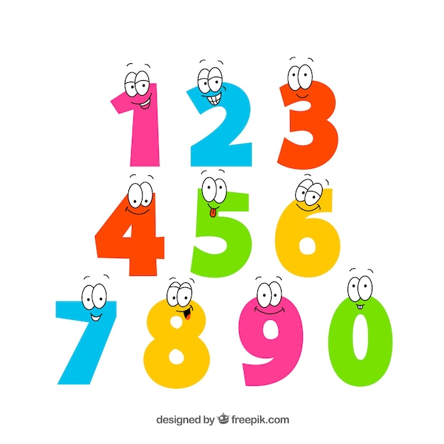 Colorful number collection with eyes Free Vector