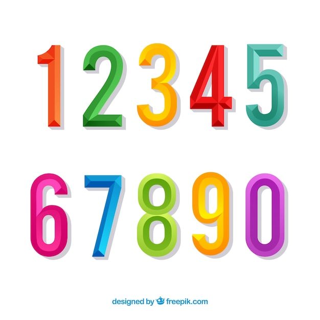 Colorful number collection with flat design Free Vector