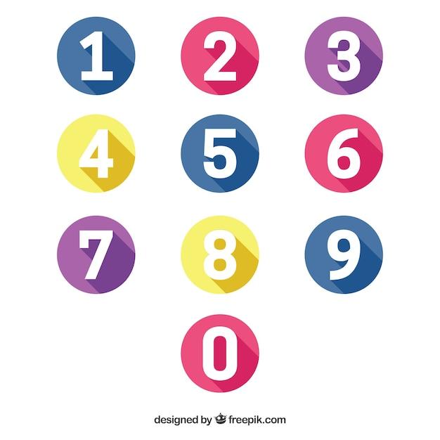 평면 디자인으로 다채로운 숫자 수집 프리미엄 벡터
