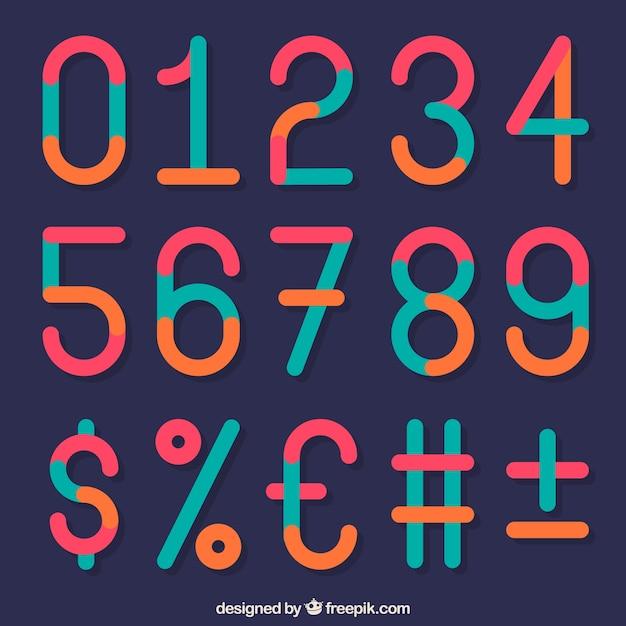 Collezione di numeri colorati con design piatto Vettore gratuito