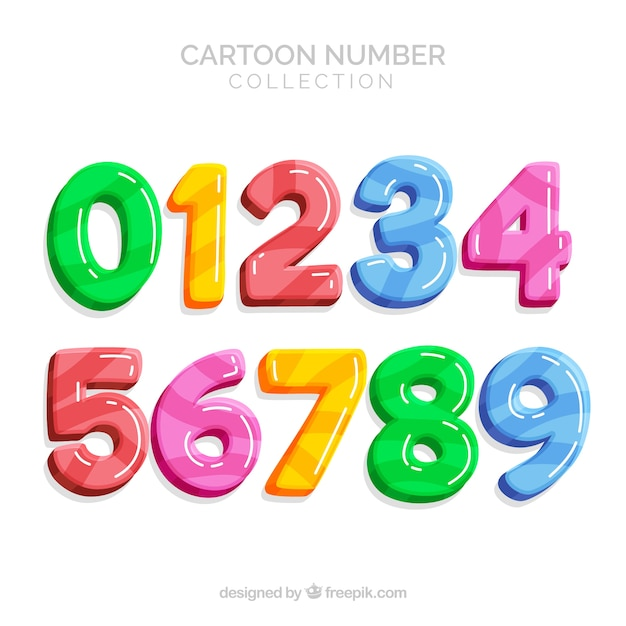 Colorful number collection Free Vector