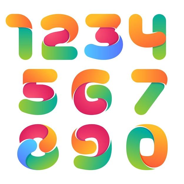 Набор красочных чисел. стиль шрифта Premium векторы