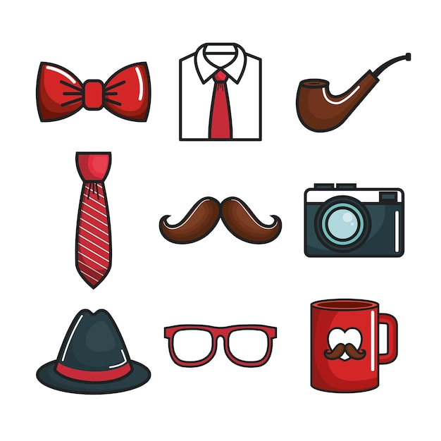 Colorful objects for men set Premium Vector