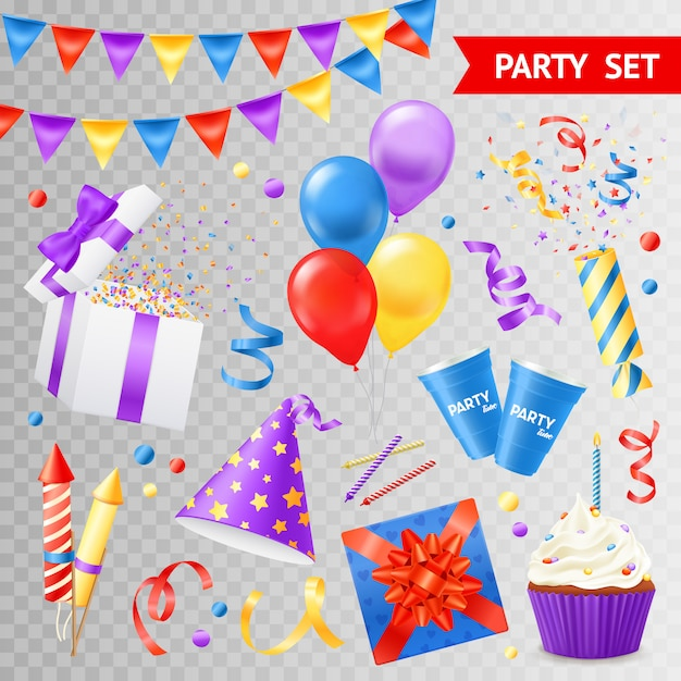 Colorful objects for parties and holidays set isolated on transparent background flat vector illustration Free Vector