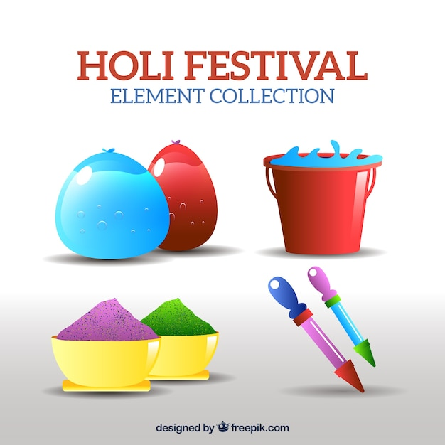 Colorful objects in realistic style for holi festival Free Vector