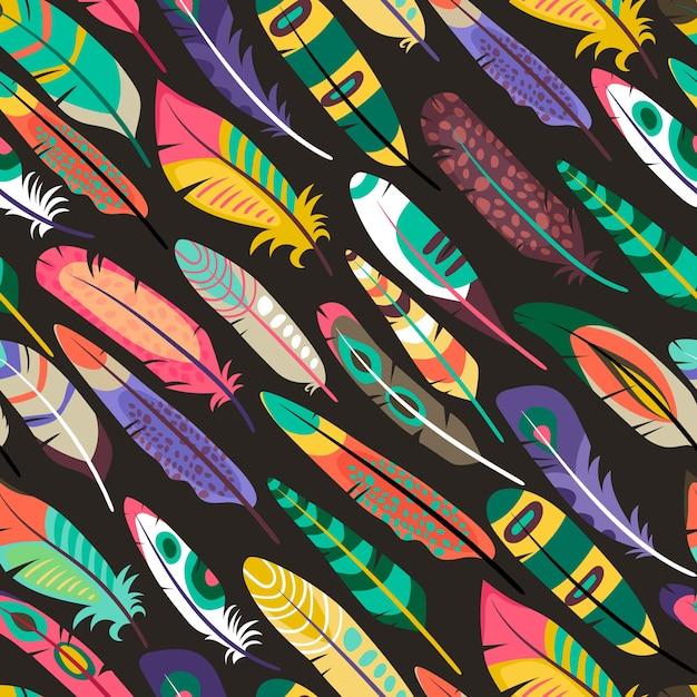이국적인 조류 또는 야생 동물 또는 자연 다양성의 공작 개념에서 깃털을 가진 다채로운 비스듬한 원활한 패턴 무료 벡터