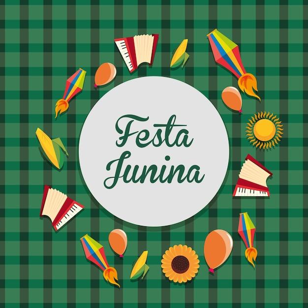 Красочные festa junina со связанными значками вокруг на зеленом фоне Premium векторы