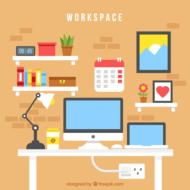 Colorful Office Desk With Flat Design Free Vector
