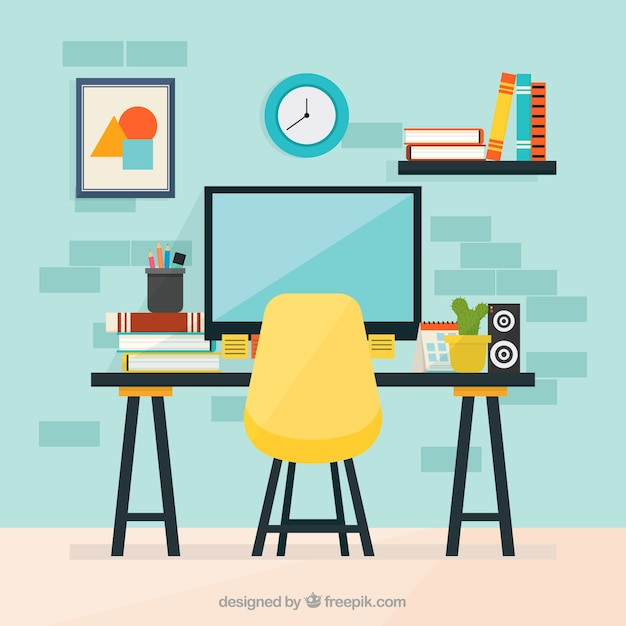 Colorful Office With Flat Design