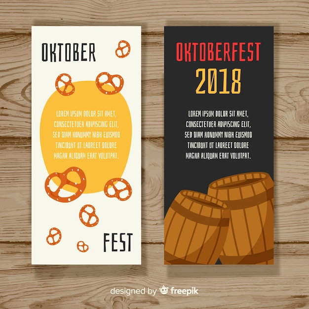Colorful oktoberfest banners with flat design Free Vector