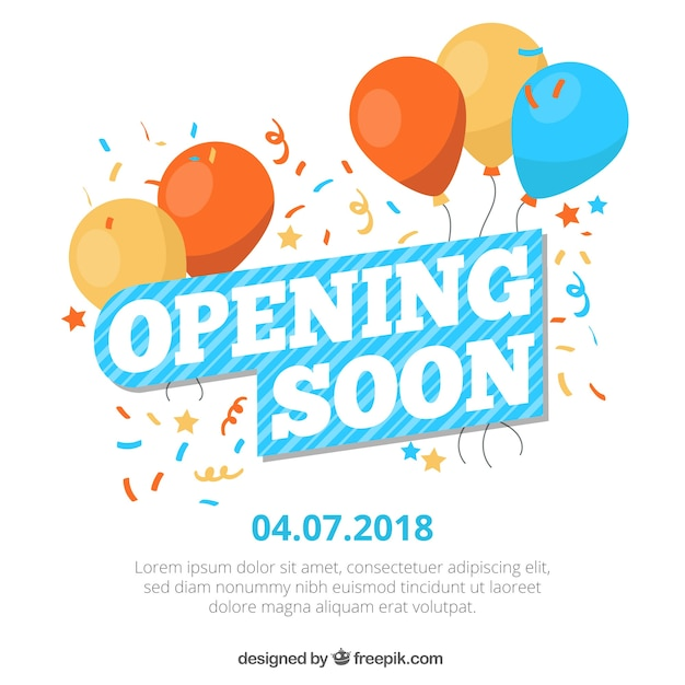 Colorful opening soon composition with flat design Free Vector