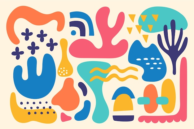 Colorful organic shapes background Free Vector