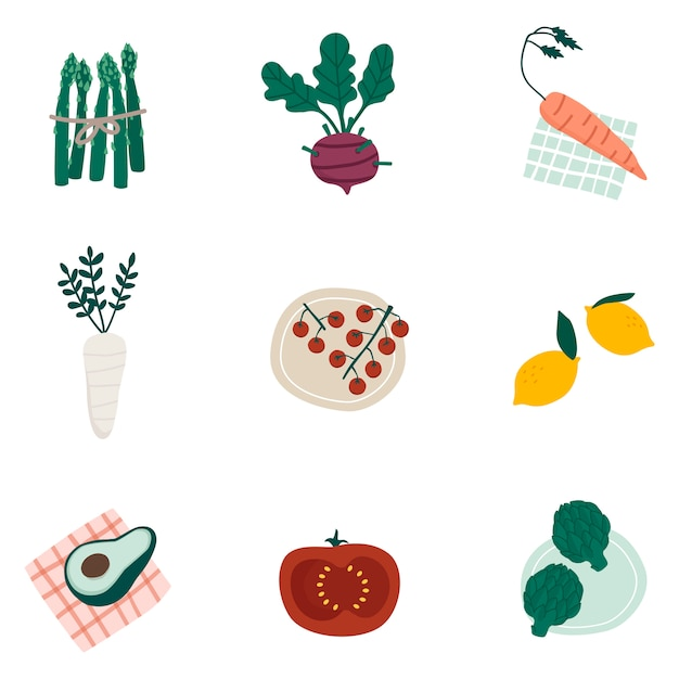 Colorful organic vegetable set vectors Free Vector