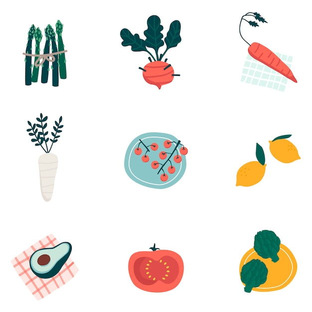 Colorful organic vegetable set vectors Free Vector