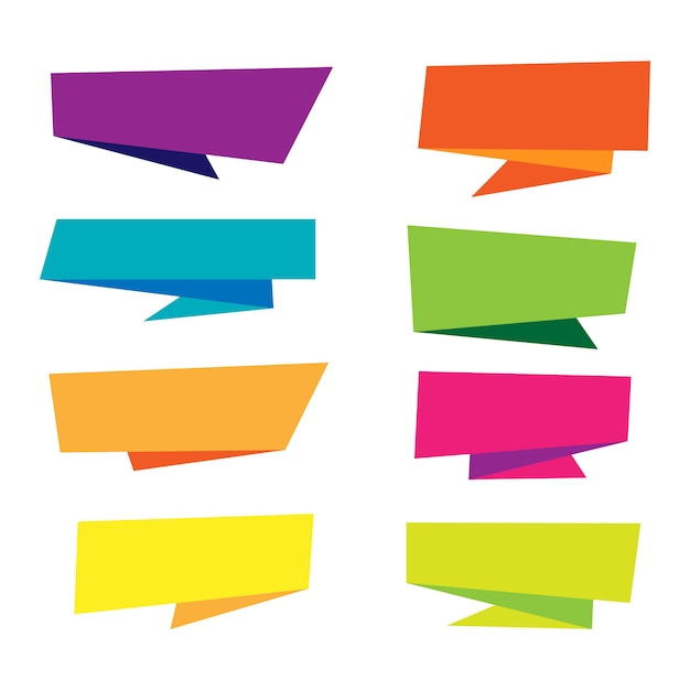 Colorful origami banner collection Free Vector